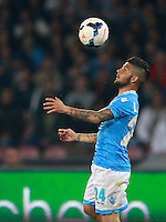 Calcio, Serie A: Napoli vs Juventus. Napoli, stadio San Paolo, 30 marzo 2014. <br /> Napoli forward Lorenzo Insigne controls the ball during the Italian Serie A football match between Napoli and Juventus at Naples' San Paolo stadium, 30 March 2014.<br /> UPDATE IMAGES PRESS/Isabella Bonotto