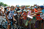 Cyril Gautier (FRA) AG2R La Mondiale with fans at sign on before Stage 15 of the 104th edition of the Tour de France 2017, running 189.5km from Laissac-Severac l'Eglise to Le Puy-en-Velay, France. 16th July 2017.<br /> Picture: ASO/Pauline Ballet | Cyclefile<br /> <br /> <br /> All photos usage must carry mandatory copyright credit (&copy; Cyclefile | ASO/Pauline Ballet)