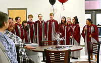 """Janelle Jessen/Herald-Leader<br /> Members of the Siloam Springs High School Choir sang a personalized version of """"Oh Happy Day,"""" for Superintendent Ken Ramey during his retirement party. Ramey is known for using the phrase."""