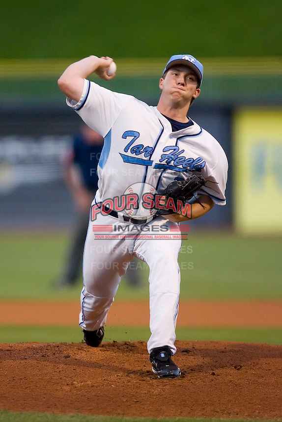 Starting pitcher Adam Warren #28 of the North Carolina Tar Heels in action versus the Duke Blue Devils at Durham Bulls Athletic Park May 20, 2009 in Durham, North Carolina.  (Photo by Brian Westerholt / Four Seam Images)