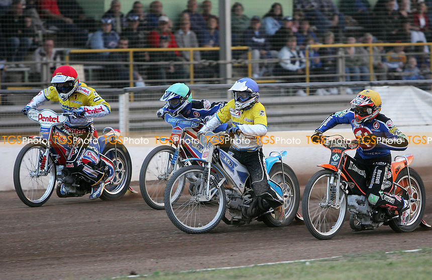 Heat 10 - Piotr Protasiewicz (red) and Kim Jansson gate ahead of Leigh Lanham (green) and Steve Johnston - Ipswich Witches vs Arena Essex Hammers - Skysports Elite League 'B' - 22/06/06 - (Gavin Ellis 2006)