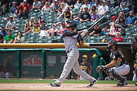 Yadiel Rivera (4) of the Colorado Springs Sky Sox at bat against the Salt Lake Bees in Pacific Coast League action at Smith's Ballpark on May 24, 2015 in Salt Lake City, Utah.  (Stephen Smith/Four Seam Images)
