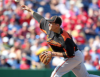 Baltimore Orioles Jim Johnson #43 during a spring training game vs. the Philadelphia Phillies at Bright House Field in Clearwater, Florida;  March 8, 2011.  Philadelphia defeated Baltimore 4-3.  Photo By Mike Janes/Four Seam Images