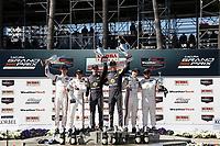 #7 Acura Team Penske Acura DPi, DPi: Helio Castroneves, Ricky Taylor, #5 Mustang Sampling Racing Cadillac DPi, DPi: Joao Barbosa, Filipe Albuquerque, #6 Acura Team Penske Acura DPi, DPi: Juan Pablo Montoya, Dane Cameron, podium