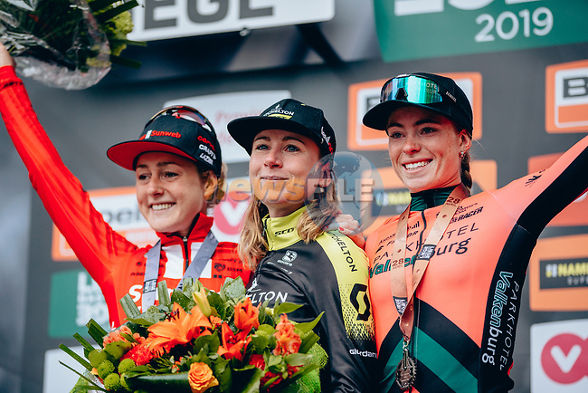 "Annemiek van Vleuten (NED) Mitchelton-Scott Women wins the 2019 Liège-Bastogne-Liège Femmes by 1'39"" with Floortje Mackaij (NED) Team Sunweb Women 2nd and Demi Vollering (NED) Parkhotel Valkenburg in 3rd place, running 138.5km from Bastogne to Liege, Belgium. 28th April 2019<br /> Picture: ASO/Thomas Maheux 