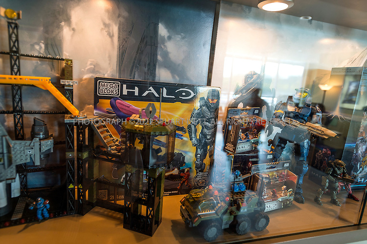 9/19/2012--Kirkland, WA, USA..Halo's offices in Kirkland, WA, across Lake Washington from Seattle. Here toys sold from the video game are displayed at the company's office...Halo is a multi-billion dollar science fiction video game franchise created by Bungie and now managed by 343 Industries and owned by Microsoft Studios. The series centers on an interstellar war between humanity and a theocratic alliance of aliens known as the Covenant (Source: WIKIPEDIA). A new installment in a second trilogy of games, Halo 4, is scheduled for release on November 6, 2012...©2012 Stuart Isett. All rights reserved.