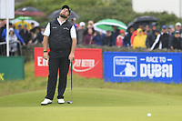 Shane Lowry (IRL) misses his birdie putt on the 18th green during Saturday's Round 3 of the Dubai Duty Free Irish Open 2019, held at Lahinch Golf Club, Lahinch, Ireland. 6th July 2019.<br /> Picture: Eoin Clarke | Golffile<br /> <br /> <br /> All photos usage must carry mandatory copyright credit (© Golffile | Eoin Clarke)