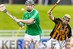 Aidan Boyle Ballyduff in Action against Niall O'Connell Abbeydorney in the Senior County Hurling Semi Final at Austin Stack Park on Sunday.