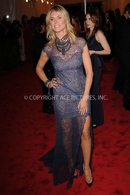 """WWW.ACEPIXS.COM . . . . . .May 7, 2012...New York City...Heidi Klum attending the """"Schiaparelli and Prada: Impossible Conversations"""" Costume Institute Gala at The Metropolitan Museum of Art in New York City on May 7, 2012  in New York City ....Please byline: KRISTIN CALLAHAN - ACEPIXS.COM.. . . . . . ..Ace Pictures, Inc: ..tel: (212) 243 8787 or (646) 769 0430..e-mail: info@acepixs.com..web: http://www.acepixs.com ."""