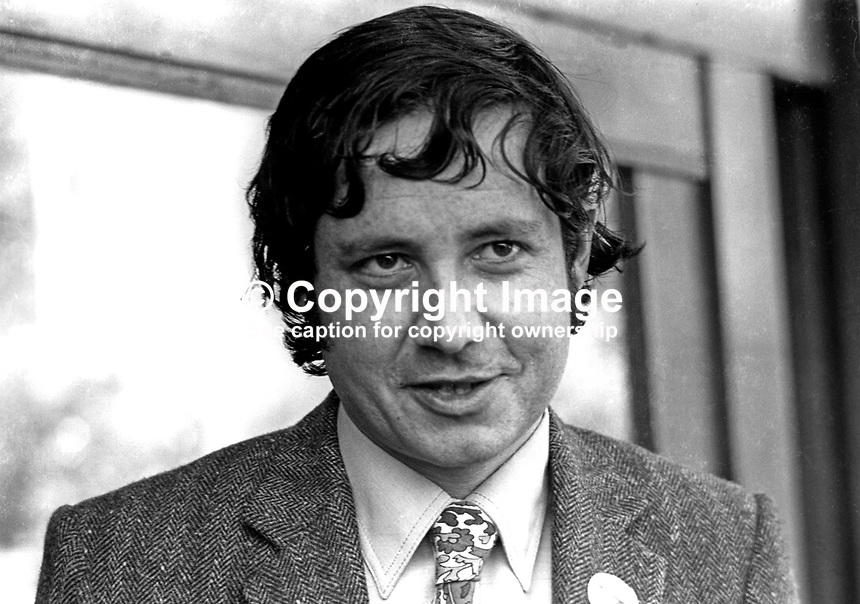 Anthony Cowdy, press officer, Alliance Party of N Ireland, APNI, UK, 4th March 1972, 197203040133<br /> <br /> Copyright Image from Victor Patterson, 54 Dorchester Park, <br /> Belfast, UK, BT9 6RJ<br /> <br /> t1: +44 28 9066 1296 (from Rep of Ireland 048 9066 1296)<br /> t2: +44 28 9002 2446 (from Rep of Ireland 048 9002 2446)<br /> m: +44 7802 353836<br /> <br /> e1: victorpatterson@me.com<br /> e2: victorpatterson@gmail.com<br /> <br /> www.victorpatterson.com<br /> <br /> Please see my Terms and Conditions of Use at www.victorpatterson.com. It is IMPORTANT that you familiarise yourself with them.<br /> <br /> Images used on the Internet must be visibly watermarked i.e. &copy; Victor Patterson within the body of the image and copyright metadata must not be deleted. Images used on the Internet have a size restriction of 4kbs and will be chargeable at current NUJ rates unless agreed otherwise.<br /> <br /> This image is only available for the use of the download recipient i.e. television station, newspaper, magazine, book publisher, etc, and must not be passed on to any third party. It is also downloaded on condition that each and every usage is notified within 7 days to victorpatterson@me.com<br /> <br /> The right of Victor Patterson to be identified as the author is asserted in accordance with The Copyright Designs And Patents Act (1988).