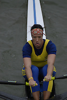 "Seville. SPAIN, 17.02.2007,  SWE W1X Frida SVENSSON, clears the ""Puente de la Barqueta"" [bridge] during Saturdays heats, of the FISA Team Cup, held on the River Guadalquiver course. [Photo Peter Spurrier/Intersport Images]    [Mandatory Credit, Peter Spurier/ Intersport Images]. , Rowing Course: Rio Guadalquiver Rowing Course, Seville, SPAIN,"