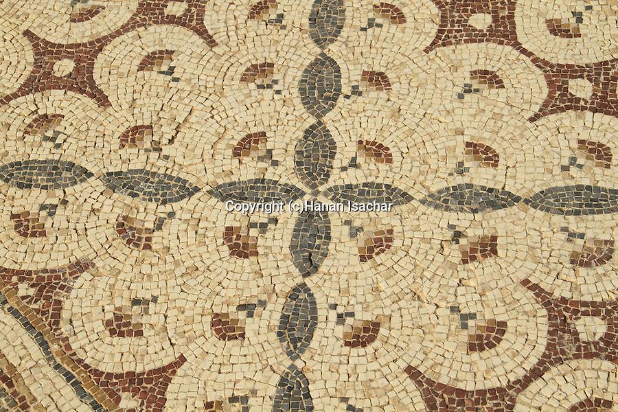 Israel, Sharon region, Byzantine mosaic in Caesarea