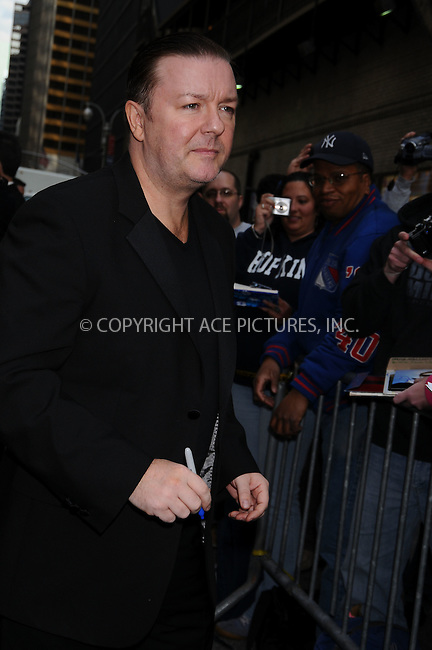 WWW.ACEPIXS.COM . . . . .  ....May 18 2009, New York City....Actor Ricky Gervais made an appearance at the 'Late Show with David Letterman' at the Ed Sullivan Theatre on May 18 2009 in New York City....Please byline: AJ Sokalner - ACEPIXS.COM..... *** ***..Ace Pictures, Inc:  ..tel: (212) 243 8787..e-mail: info@acepixs.com..web: http://www.acepixs.com