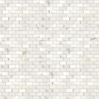 Running Bond, a hand-cut stone mosaic, shown in polished 2cm x 4cm Calacatta.