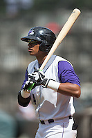 T.J. Williams (4) of the Winston-Salem Dash waits for his turn to bat during the game against the Salem Red Sox at BB&T Ballpark on May 31, 2015 in Winston-Salem, North Carolina.  The Red Sox defeated the Dash 6-5.  (Brian Westerholt/Four Seam Images)