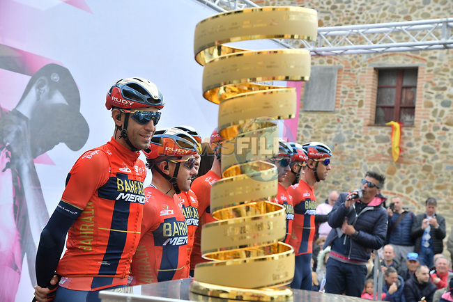 Vincenzo Nibali (ITA) and Bahrain-Merida at sign on before Stage 3 of the 2019 Giro d'Italia, running 220km from Vinci to Orbetello, Italy. 13th May 2019<br /> Picture: Gian Mattia D'Alberto/LaPresse | Cyclefile<br /> <br /> All photos usage must carry mandatory copyright credit (© Cyclefile | Gian Mattia D'Alberto/LaPresse)