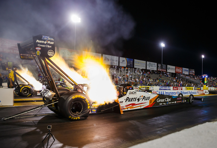 Sep 29, 2017; Madison , IL, USA; NHRA top fuel driver Clay Millican sets a national record with an elapsed time of 3.631 seconds during qualifying for the Midwest Nationals at Gateway Motorsports Park. Mandatory Credit: Mark J. Rebilas-USA TODAY Sports