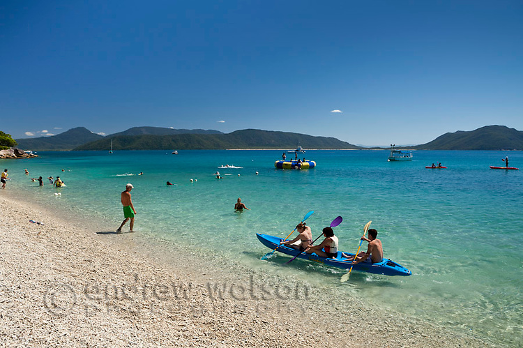 Kayakers and swimmers at Welcome Bay.  Fitzroy Island National Park, Cairns, Queensland, Austtralia
