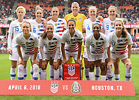 Houston, TX - Sunday April 8, 2018: USWNT starting eleven during an International friendly match versus the women's National teams of the United States (USA) and Mexico (MEX) at BBVA Compass Stadium.
