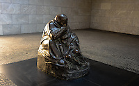 "Berlin, Germany. Käthe Kollwitz's sculpture Mother with her Dead Son in the Neue Wache building. Since 1993 the ""Central Memorial of the Federal Republic of Germany for the Victims of War and Tyranny""."