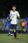 Kyle Holcomb (3) of the Wake Forest Demon Deacons during first half action against the Duke Blue Devils at W. Dennie Spry Soccer Stadium on September 29, 2018 in Winston-Salem, North Carolina.  The Demon Deacons defeated the Blue Devils 4-2.  (Brian Westerholt/Sports On Film)