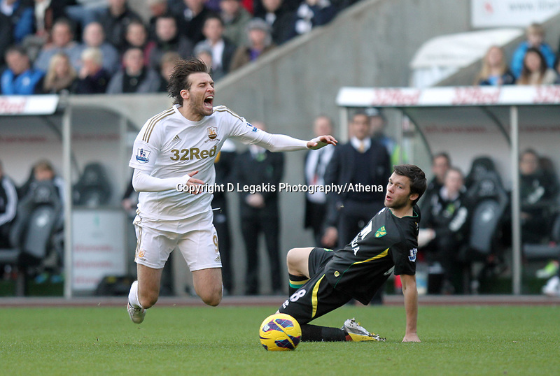 Barclays Premier League, Swansea City (White) V Norwich City (black) Liberty Stadium, Swansea, 08/12/12<br /> Pictured: This challenge by Jonathan Howson  of Norwich sent Michu flying<br /> Picture by: Ben Wyeth / Athena <br /> Athena Picture Agency<br /> info@athena-pictures.com