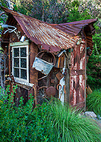 The Hermit's Hut- made by Ben Frey from rescued wood and metal including Model A car parts; Kate Frey Garden