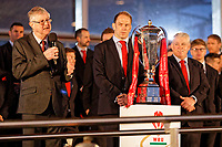 (L-R) First Minister Mark Drakeford gives a speech next to team captain Alun Wyn Jones and head coach Warren Gatland during the Celebration for Wales Six Nations Win at the National Assembly for Wales, Cardiff Bay, Wales, UK. Monday 18 March 2019