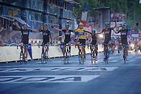"collective crossing of the final finish line by ""yellow"" Team SKY<br /> <br /> Tour de France 2013<br /> (final) stage 21: Versailles - Paris Champs-Elysées<br /> 133,5km"