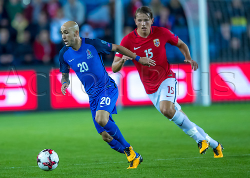 1st September 2017, Ullevaal Stadion, Oslo, Norway; World Cup Qualifier, Group C; Norway versus Azerbaijan;  Richard Almeida of Azerbaijan breaks from Sander Berge of Norway during the FIFA World Cup group C qualifier match