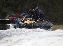 26/12/15<br /> <br /> Dozens of competitors are tossed into the Derwent as the extremely swollen river launches rafts, uncontrollably, down a weir along the route of the Boxing Day Race at Matlock Bath in Derbyshire.<br /> <br /> <br /> All Rights Reserved: F Stop Press Ltd. +44(0)1335 418365   www.fstoppress.com.