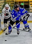 29 December 2018: University of Alabama Huntsville Charger Defenseman John Teets, a Senior from Fairbanks, Alaska, in second period action against the Northeastern University Huskies at Gutterson Fieldhouse in Burlington, Vermont. The Huskies shut out the Chargers 2-0 in the Catamount Cup tournament at the University of Vermont. Mandatory Credit: Ed Wolfstein Photo *** RAW (NEF) Image File Available ***