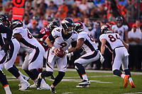 Ohio, Canton - August 1, 2019: Denver Broncos quarterback Kevin Hogan #9 prepares to hand off the ball during a pre-season game between the Atlanta Falcons and the Denver Broncos at the Tom Benson stadium in Canton, Ohio August 1, 2019. This game marks start of the 100th season of the NFL. (Photo by Don Baxter/Media Images International)