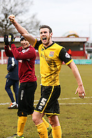 Zander Diamond of Northampton Town  celebrates after the Sky Bet League 2 match between Stevenage and Northampton Town at the Lamex Stadium, Stevenage, England on 19 March 2016. Photo by David Horn / PRiME Media Images.