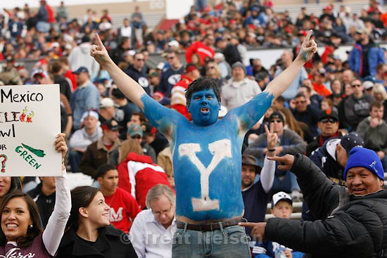 Trent Nelson  |  The Salt Lake Tribune.Painted fan in the first half as BYU faces UTEP in the New Mexico Bowl, college football Saturday, December 18, 2010 in Albuquerque, New Mexico.