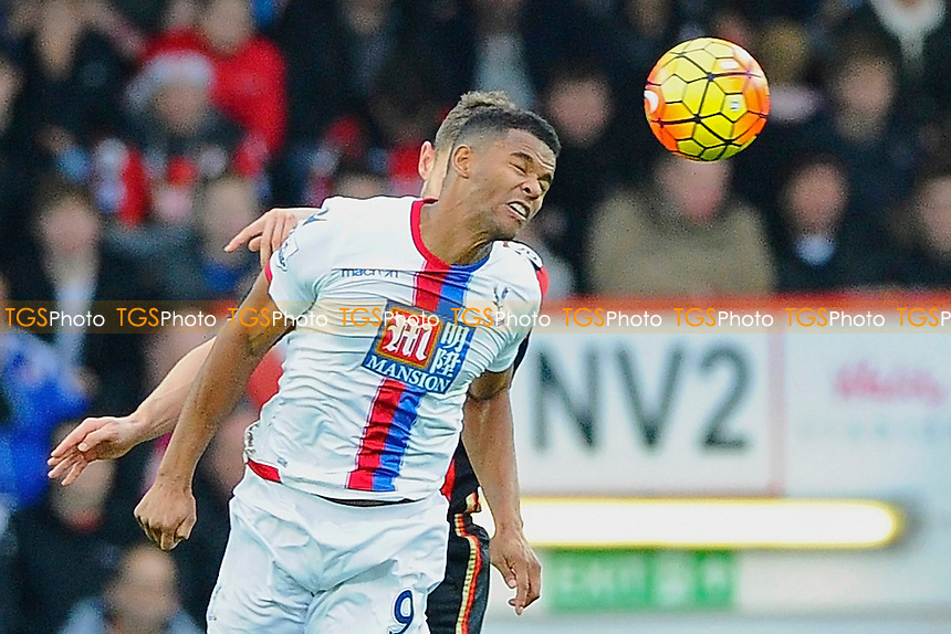 Fraizer Campbell of Crystal Palace wins a header from Simon Francis of AFC Bournemouth during AFC Bournemouth vs Crystal Palace at the Vitality Stadium