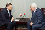 Palestinian President Mahmoud Abbas meets with Polish President, on the sidelines of the General Debate of the 73rd session of the General Assembly at the United Nations, in New York on September 26, 2018. Photo by Thaer Ganaim