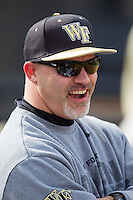 Wake Forest Demon Deacons trainer Jeff Strahm during the game against the Marshall Thundering Herd at Wake Forest Baseball Park on February 17, 2014 in Winston-Salem, North Carolina.  The Demon Deacons defeated the Thundering Herd 4-3.  (Brian Westerholt/Four Seam Images)