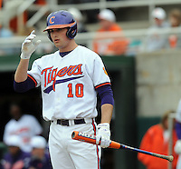 Clemson first baseman Ben Paulsen in a game between the Clemson Tigers and Mercer Bears on Feb. 24, 2008, at Doug Kingsmore Stadium in Clemson, S.C. Photo by: Tom Priddy/Four Seam Images