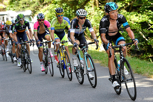 22.07.2014. Carcassonne to Bagnères-de-Luchon, France. Tour de France cycling championship, stage 16.   KIRYIENKA Vasil (BLR - Team SKY), BAKELANTS Jan (BEL - Omega Pharma - Quick-Step cycling team) and ROGERS Michael (AUS - Team TINKOFF-SAXO) ascend the Port de Bales