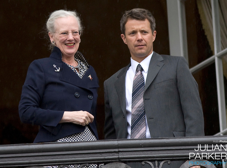Crown Prince Frederik and Queen Margrethe at Amalienborg palace in Copenhagen for Prince Frederik's 40th birthday celebrations.