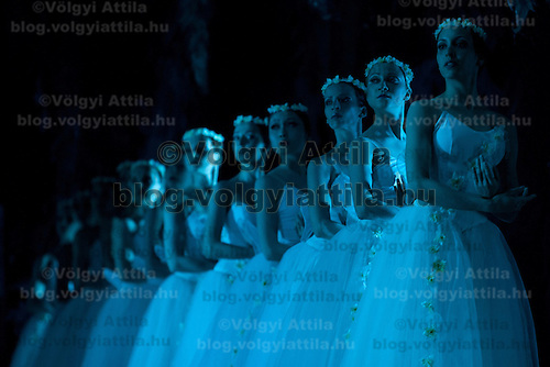 Members of the Hungarian National Ballet Company perform ballet piece Giselle by Adam-Lavrovszkij featuring Popova Aleszja presented in the Hungarian State Opera House in Budapest, Hungary on April 27, 2011. ATTILA VOLGYI.For personal use only! Not for publication!