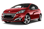 Stock pictures of low aggressive front three quarter view of 2016 Peugeot 208 GTI 3 Door Hatchback 2WD Low Aggressive