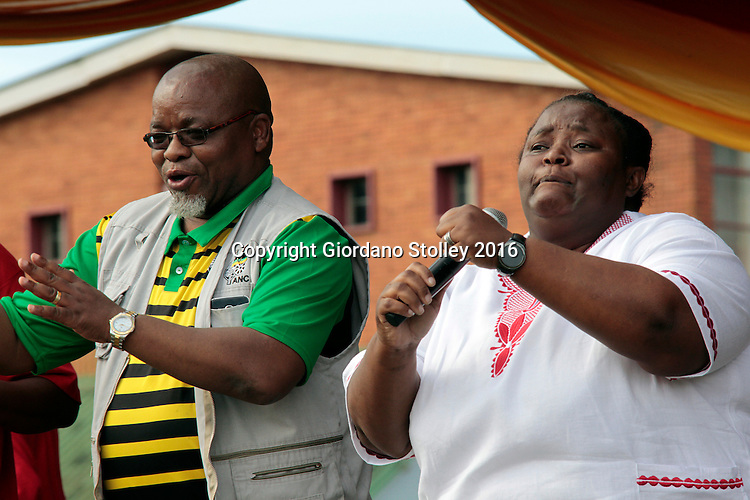 DURBAN - 1 May 2016 -  Gwede Mantashe, the secretary general of South Africa's ruling African National Congress party, dances along with popular gospel singer Hlengiwe Mhlaba at Durban's Curries Fountain Stadium in front of estimated 8,000 people that packed the stadium for May Day fesivities. Picture: Allied Picture Press/APP