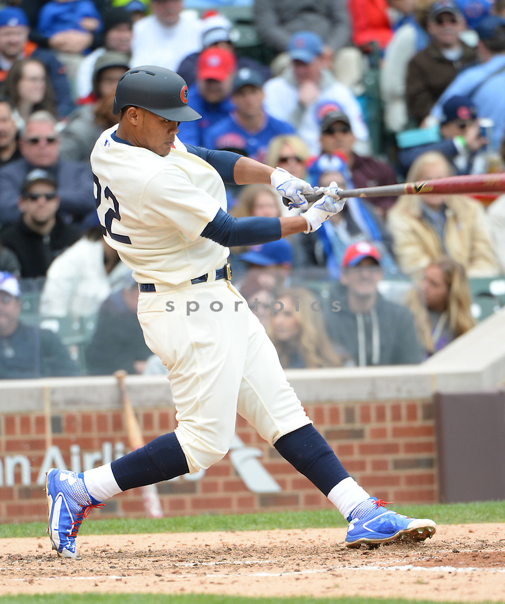 Chicago Cubs Addison Russell (22) during a game against the Kansas City Royals on May 31, 2015 at Wrigley Field in Chicago, IL. The Cubs beat the Royals 2-1.