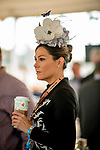November 3, 2018 : A woman drinks her coffee on Breeders Cup World Championships Saturday at Churchill Downs on November 3, 2018 in Louisville, Kentucky. Scott Serio/Eclipse Sportswire/CSM