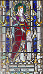 Stained glass window detail Saint Ursula, Aldeburgh church, Suffolk, England, UK c c 1929 A K Nicholson