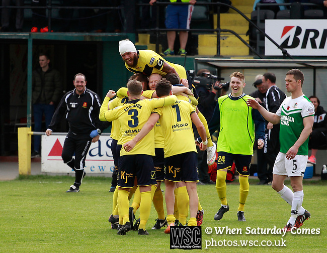 Aberystwyth Town 1 Newtown 2, 17/05/2015. Park Avenue, Europa League Play Off final. Newtown's players celebrate at full time. Aberystwyth finished 14 points above Newtown in the Welsh Premier League, but were beaten 1-2 in the Play Off Final. Photo by Paul Thompson.