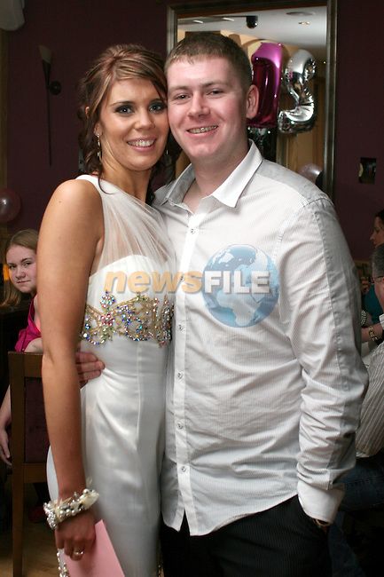 Sinead Sweeney at her 21st in the Thatch with Stephen McCann...Photo NEWSFILE/Jenny Matthews.(Photo credit should read Jenny Matthews/NEWSFILE)....This Picture has been sent you under the condtions enclosed by:.Newsfile Ltd..The Studio,.Millmount Abbey,.Drogheda,.Co Meath..Ireland..Tel: +353(0)41-9871240.Fax: +353(0)41-9871260.GSM: +353(0)86-2500958.email: pictures@newsfile.ie.www.newsfile.ie.FTP: 193.120.102.198.