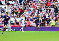August 06, 2012..Japan's Yuki Ogimi #17 celebrates after scoring against France during Semi Final match at the Wembley Stadium on day ten in Wembley, England. Japan defeats France 2-1 to reach Women's Finals of the 2012 London Olympics.